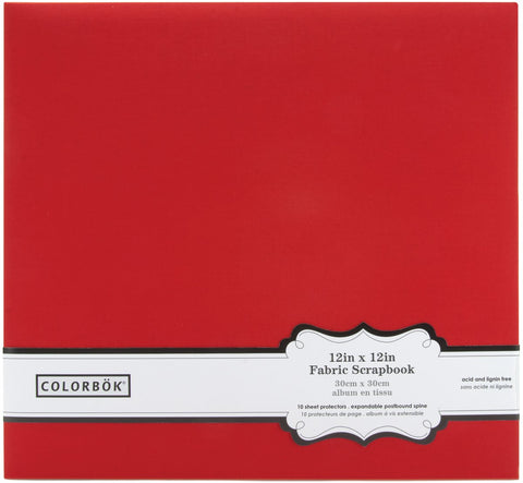 Colorbok Post Bound Fabric Album Red 12inX12in
