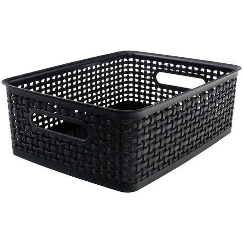 Weave Design Plastic Bin Medium Black 13.75inL X 10.5inW X 4.625inH