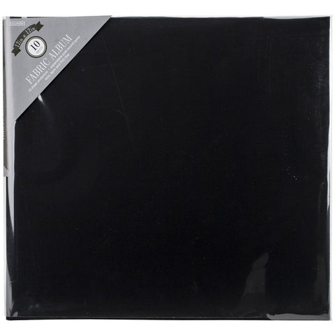 Colorbok Post Bound Fabric Album Black 12inX12in