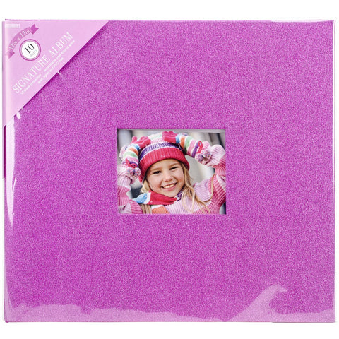 Colorbok Post Bound Glitter Album Pink 12inX12in