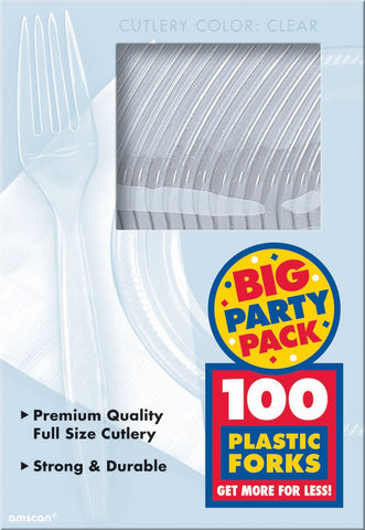 Plastic Forks Clear 100pk