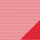 American Crafts Basics Double Sided Cardstock Red Chevron 12inX12in