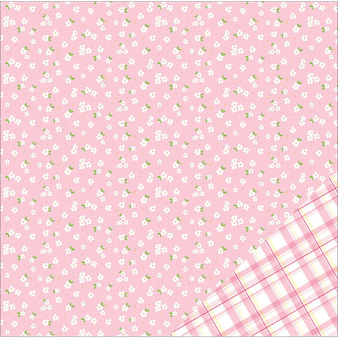 American Crafts Basics Double Sided Cardstock Light Pink with White Flower 12inX12in