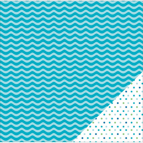 American Crafts Basics Double Sided Cardstock Aqua Wave 12inX12in