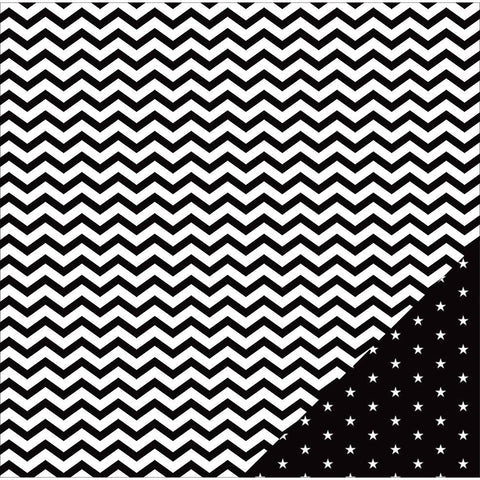 American Crafts Basics Double Sided Cardstock Black Chevron 12inX12in