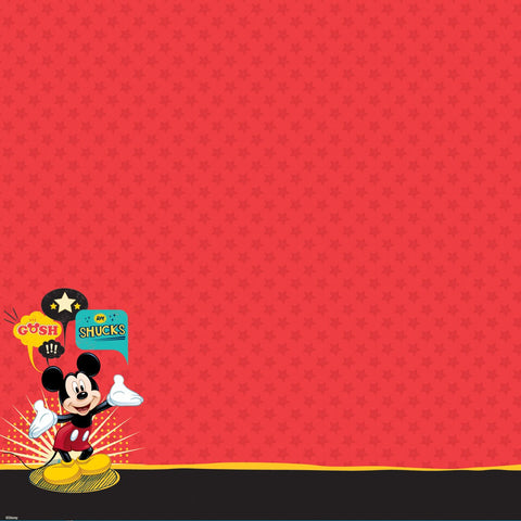 Disney Glittered Thermography Paper Mickey Family Mickey Mouse 12inX12in