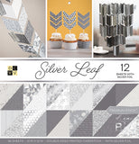 DCWV Double-Sided Cardstock Stack Silver Leaf 12inX12in 36pk