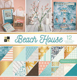 DCWV Paper Stack Double-Sided Beach House with Gold Foil 12inX12in 36pk