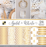 DCWV Single-Sided Cardstock Stack Gold & White 12inX12in 24pk