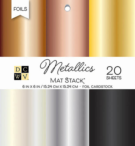 DCWV Single-Sided Cardstock Stack Metallics Foil Solid 6inX6in 2pk