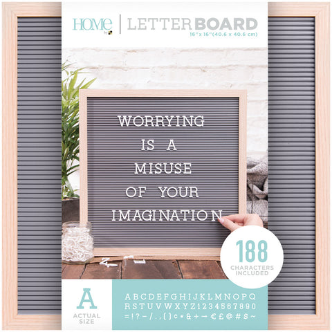 DCWV Framed Letterboard Natural with Gray Insert 16inX16in