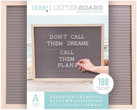 DCWV Framed Letterboard Natural with Gray Insert 20inX16in