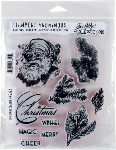 Tim Holtz Cling Stamps Christmas Classic 7inX8.5in