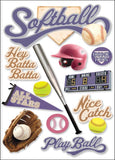 Paper House 3D Stickers Softball 4.5inx8.5in