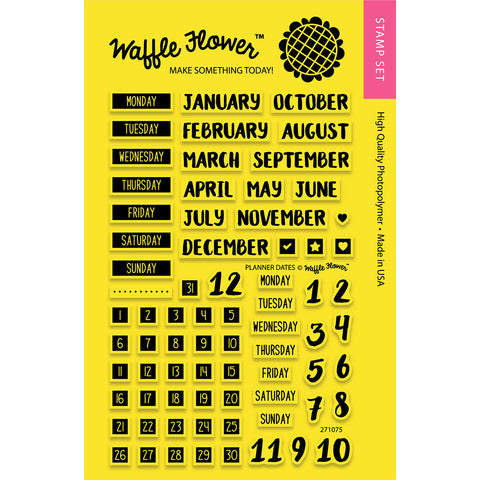 Waffle Flower Crafts Clear Stamps Planner Dates 4inx6in