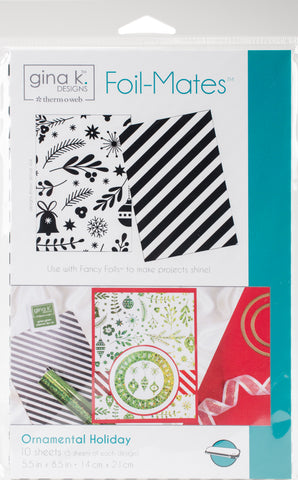Gina K Designs Foil-Mates Background Ornamental Holiday 5.5inX8.5in 10pk