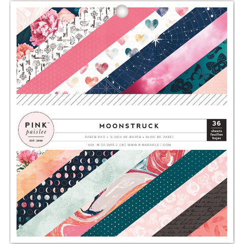 Pink Paislee Single Sided Paper Pad Moonstruck with 24 Designs 6inX6in 36pk