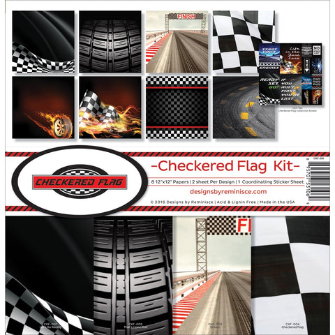 Reminisce Collection Kit Checkered Flag 12inX12in