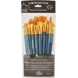Gold Taklon Angular Variety Pack Brush Set 12pk