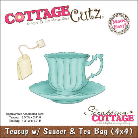 CottageCutz Die Teacup with Saucer and Tea Bag Made Easy 4inx4in