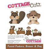 CottageCutz Forest Peekers Die Beaver and Dog 1.3in To 1.7in