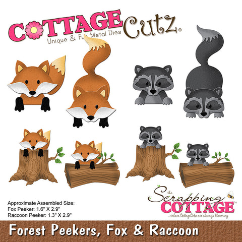 CottageCutz Forest Peekers Die Fox and Raccoon 1.3in To 2.9in