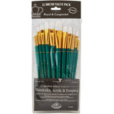 White Taklon Value Pack Brush Set 12pk