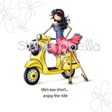 Stamping Bella Cling Stamp Uptown Girl Vienna and Her Vespa 6.5inX4.5in