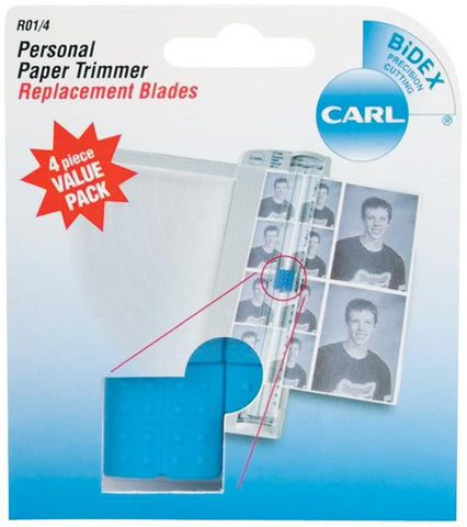 Carl Personal Paper Trimmer Replacement Blades 4pk Straight For RBT12 and RBT12N