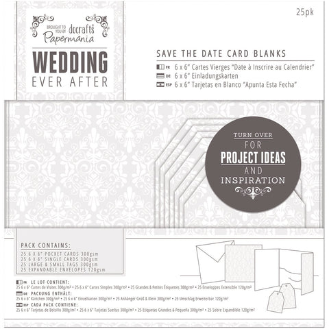 Papermania Ever After Wedding Blank Cards White Damask Screen Print 25pk