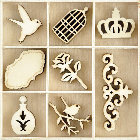 Themed Mini Wooden Flourishes Pretty 40pk