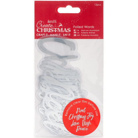Papermania Create Christmas Foiled Words Stickers Silver