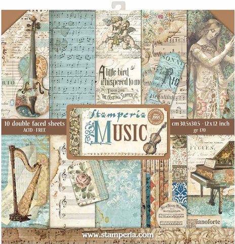 Stamperia Double-Sided Paper Pad Music 12inX12in 10pk