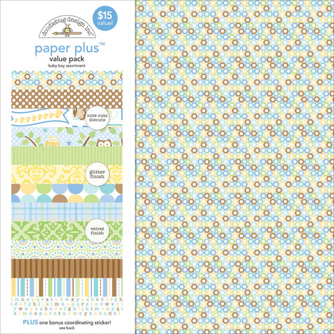 Doodlebug Paper Plus Value Pack Baby Boy 12inX12in 8pk