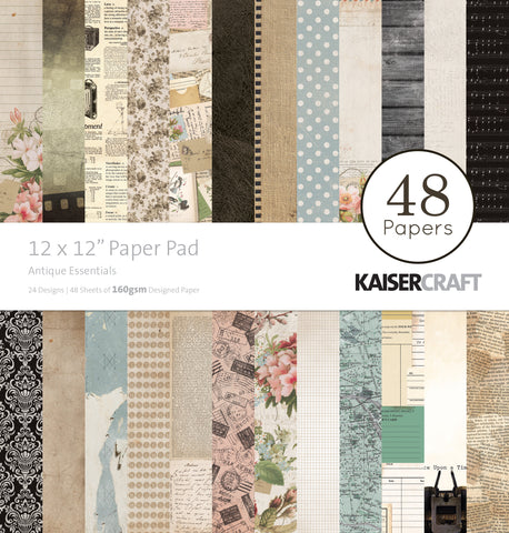 Kaisercraft Paper Pad Antique Essentials 12inX12in 48pk