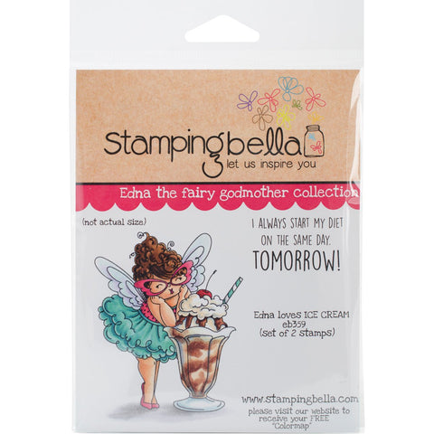 Stamping Bella Cling Stamp Edna Loves Ice Cream 6.5inX4.5in