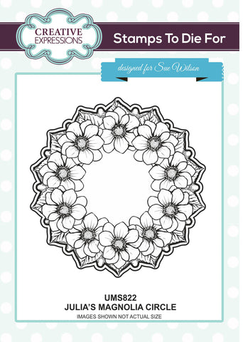 Creative Expressions Mounted Rubber Stamp Julia's Magnolia Circle