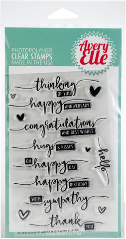 Avery Elle Clear Stamp Set Loads Of Wishes 4inX6in