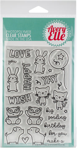 Avery Elle Clear Stamp Set Party Pals 4inX6in