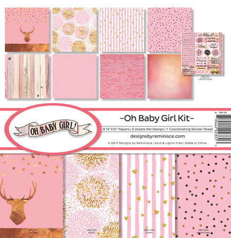 Reminisce Collection Kit Oh Baby Girl 12inX12in