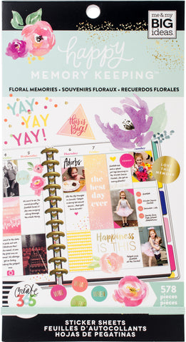 Happy Planner Sticker Value Pack Floral Memories 578pk