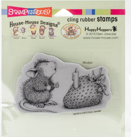Stampendous House Mouse Cling Stamp Strawberry Wish