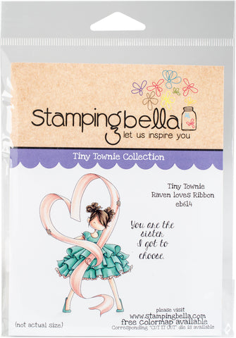 Stamping Bella Cling Stamps Tiny Townie Raven Loves Ribbon