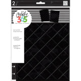 Happy Planner Medium Snap In Hard Planner Cover Black Quilted 9.75inX7.75in