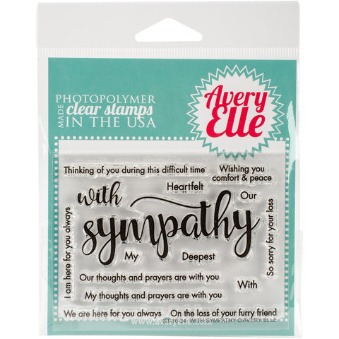 Avery Elle Clear Stamp Set with Sympathy 4inx3in