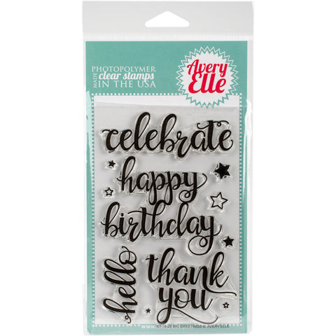 Avery Elle Clear Stamp Set Big Greetings 4inx6in