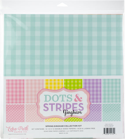 Echo Park Double-Sided Collection Pack Spring Gingham 12inX12in 12pk