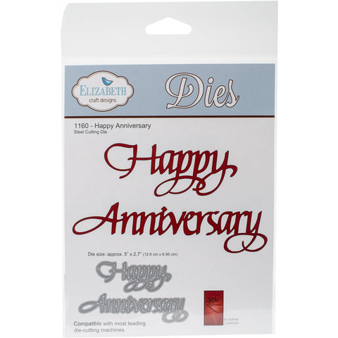 Elizabeth Craft Metal Die Happy Anniversary 2.7inX5in
