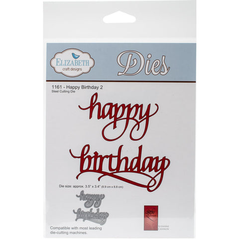 Elizabeth Craft Metal Die Happy Birthday 2 3.4inX3.5in