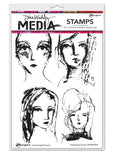 Dina Wakley Media Cling Stamps Interesting Faces 6inX9in